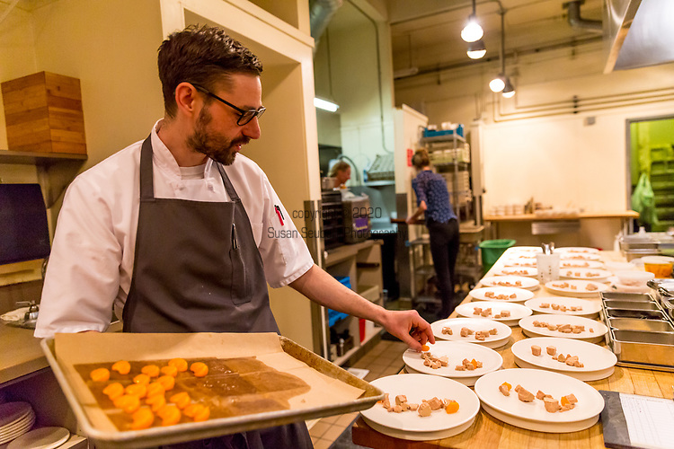 Foie gras, satsuma, ginger, Matchmaker Supper Club at Castagna Restaurant, Portland, OR featuring pottery by Careen Stoll, Lilith Rockett and Lindsay Oesterritter.  Food prepared by chefs Justin Woodward and Ryan Roadhouse.
