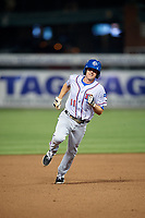 Round Rock Express second baseman Josh Wilson (11) running the bases during a game against the Memphis Redbirds on April 28, 2017 at AutoZone Park in Memphis, Tennessee.  Memphis defeated Round Rock 9-1.  (Mike Janes/Four Seam Images)