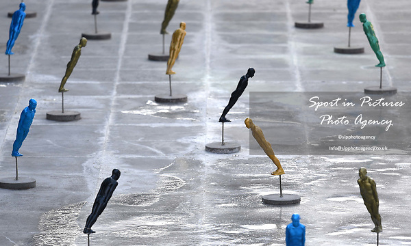 Statues outside the MPC. Views from around the Main Press Centre (MPC). Pyeongchang2018 winter Olympics. Main Press Centre. Alpensia. Pyeongchang. Republic of Korea. 08/02/2018. ~ MANDATORY CREDIT Garry Bowden/SIPPA - NO UNAUTHORISED USE - +44 7837 394578