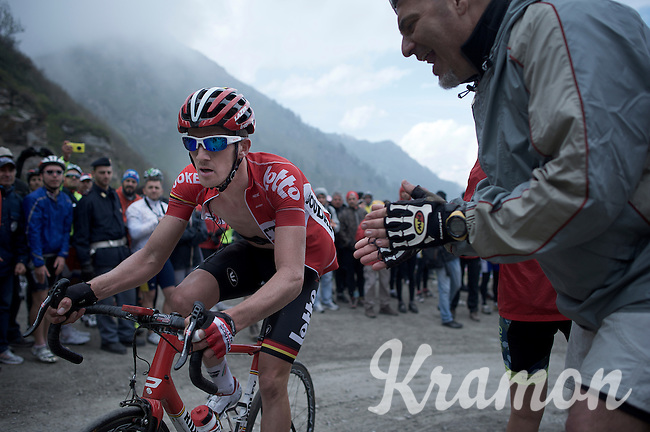 Jurgen Van den Broeck (BEL/Lotto-Soudal) up the dirt roads of the Colle delle Finestre (2178m)<br /> <br /> Giro d'Italia 2015<br /> stage 20: Saint Vincent - Sestriere (199km)