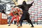 Warren Barguil dressed as Samurai on stage before the Tour de France Saitama Crit&eacute;rium 2017 held around the streets os Saitama, Japan. 3rd November 2017.<br /> Picture: ASO/Pauline Ballet | Cyclefile<br /> <br /> <br /> All photos usage must carry mandatory copyright credit (&copy; Cyclefile | ASO/Pauline Ballet)