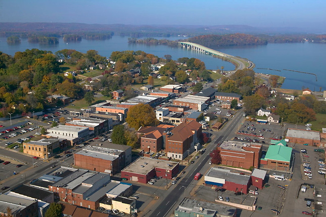 Downtown Guntersville with lake and bridge