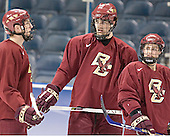 Andrew Orpik, Brian Boyle, Brock Bradford - The Boston College Eagles practiced on Wednesday, April 5, 2006, at the Bradley Center in Milwaukee, Wisconsin, in preparation for their 2006 Frozen Four Semi-Final game against the University of North Dakota.