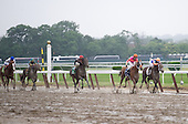 Stay Thirsty, on the rail, hangs in gamely against Ruler on Ice in the Belmont.