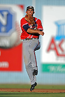 Rome Braves shortstop Jose Peraza #4 fields and throws to first during a game against the Asheville Tourists at McCormick Field on July 25, 2013 in Asheville, North Carolina. The Tourists won the game 9-6. (Tony Farlow/Four Seam Images)