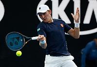 15th January 2019, Melbourne Park, Melbourne, Australia; Australian Open Tennis, day 2;  Mitchell Krueger of USA returns the balla during a match against Novak Djokovic of Serbia