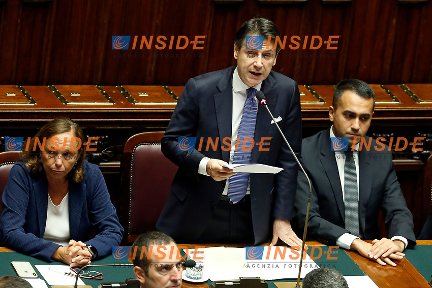 Giuseppe Conte during his speech with the Minister of Home Affairs Luciana Lamorgese (L) and Luigi Di Maio<br /> Rome September 9th 2019. Lower Chamber. Programmatic speech of the new appointed Italian Premier at the Chamber of Deputies to explain the program of the yellow-red executive. After his speech the Chamber is called to the trust vote at the new Government. <br /> Foto  Samantha Zucchi Insidefoto