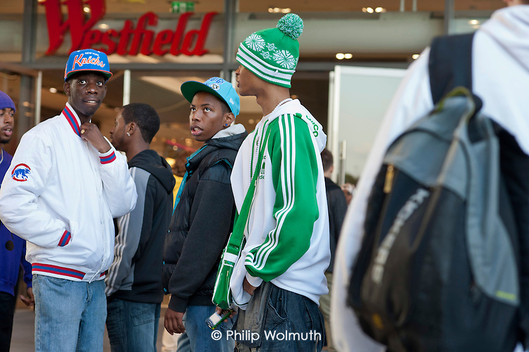 Teenagers meet up in Westfield Stratford City, gateway to the London 2012 Olympic Park and the largest urban shopping centre in Europe. It is privately owned and managed, and its outdoor spaces are patrolled by private security guards