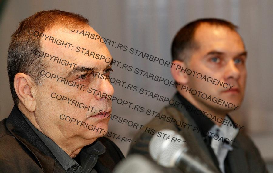 New head coach of Serbia's FC Partizan Avram Grant (L) and sport director Albert Nadj, during the press conference, in Belgrade, Serbia, Sunday, January 15, 2012. (Starsportphoto.com/Srdjan Stevanovic ©)
