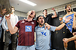 Players of Uhlenhorster HC in the locker room after defeating Club an der Alster in the final of the KLAFS Final4 in Stuttgart 8-5. (Photo by Dirk Markgraf / www.265-images.com)<br /> <br /> #Final4 #FinalFour #hockey #indoor #DHB #SCHARRENA #Stuttgart #DeutscheMeisterschaft #DeutscherMeister #roadtostuttgart #DHB #dhb_hockey ##Hamburg #Derby #Norden #HockeyHauptstadt #Uhlenhorst #nurderuhc #uhchamburg @uhchamburg