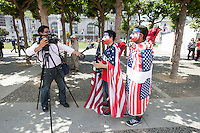 San Francisco, CA - Thursday, June 26, 2014:  USA soccer fans Jose Colocho and Giovanni Rivera of Redwood City are interviewed after  watching the USA vs. Germany first round World Cup match at a public viewing at the Civic Center in San Francisco, CA