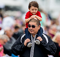 OLDSMAR, FL - MARCH 10:  A father and son enjoy the racing on the apron on Tampa Derby Day at Tampa Bay Downs on March 10, 2018 in Oldsmar, FL. (Photo by Scott Serio/Eclipse Sportswire/Getty Images)