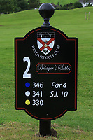 New sign at the 2nd tee during the Preview of the AIG Cups & Shields Connacht Finals 2019 in Wesport Golf Club, Westport, Co. Mayo on Thursday 8th August 2019.<br /> <br /> Picture:  Thos Caffrey / www.golffile.ie<br /> <br /> All photos usage must carry mandatory copyright credit (© Golffile | Thos Caffrey)