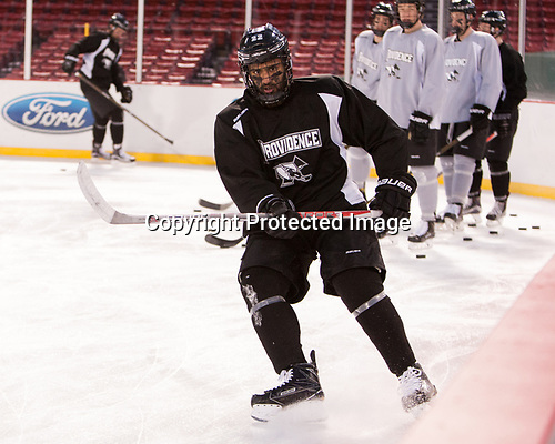 Vimal Sukumaran (PC - 22) - The Providence College Friars practiced on the rink at Fenway Park on Friday, January 6, 2017.