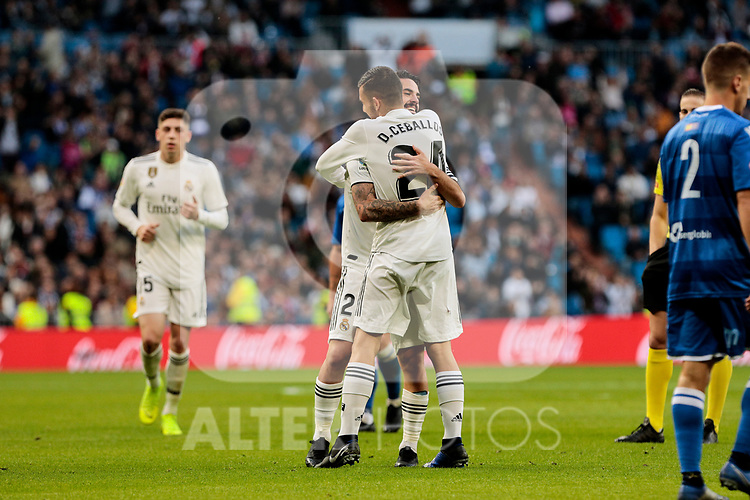 Real Madrid's Francisco Alarcon 'Isco' celebrates goal with Real Madrid's Dani Ceballos during Copa del Rey match between Real Madrid and UD Melilla at Santiago Bernabeu Stadium in Madrid, Spain. December 06, 2018. (ALTERPHOTOS/A. Perez Meca)