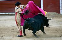 CALI -COLOMBIA-28-12-2013. Faena del torero Luis Bolívar en la plaza de toros de Cañaveralejo durante la tercera corrida de abono en el marco de la 56 Feria de Cali 2013./ Faena of bullfighter Luis Bolivar in the bullring Cañaveralejo during the  third bullfight within the framework of 56 Cali Fair 2013.  Photo: VizzorImage/Juan C. Quintero/STR