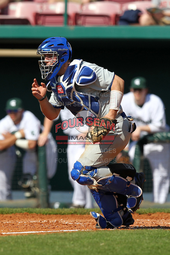 Frank Esposito #11 of the Seton Hall Pirates during the Big East-Big Ten Challenge vs. the Michigan State Spartans at Al Lang Field in St. Petersburg, Florida;  February 19, 2011.  Michigan State defeated Seton Hall 5-4.  Photo By Mike Janes/Four Seam Images