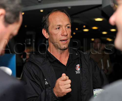 27.09.2010. Heineken Cup UK Launch at  Millennium Stadium, Cardiff, Wales. Saracens Director of Rugby Brendan Venter talks to the media.