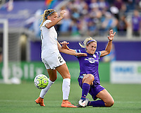 Orlando, FL - Saturday Sept. 24, 2016: Katie Bowen, Camille Levin during a regular season National Women's Soccer League (NWSL) match between the Orlando Pride and FC Kansas City at Camping World Stadium.