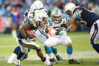 12/16/12 San Diego, CA: Carolina Panthers middle linebacker Luke Kuechly #59 during an NFL game played between the Carolina Panthers and the San Diego Chargers held at Qualcomm Filed. The Panthers defeated the Chargers 31-7
