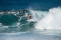 Backdoor Pipeline Off The Wall, North Shore of Oahu, Hawaii Monday December 8 2014) Lee Ann Curren (FRA). - The surf was in the 4'-6' range at Pipeline and Backdoor today with a  dropping NNW swell and light  winds. A new more NW swell was slowing building during the day. Photo: joliphotos.com