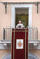 "In his first public appearance since having the cast removed from his broken right wrist, Pope Benedict XVI delivers his blessing during the Angelus prayer from his summer residence in Castel Gandolfo, on the outskirts of Rome, Sunday, Aug. 23, 2009. The pontiff jokingly said that his hand was ""freed"" but still a bit sluggish. Benedict clearly favored his left hand while blessing the faithful gathered in the courtyard of the papal summer residence, but he was able to bless the crowd with his right hand. The wrist remained covered with a white bandage."