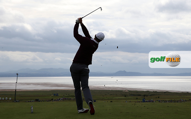 Justin Rose (ENG) plays to dramatic skies down the 6th during Round Three of the 2015 Aberdeen Asset Management Scottish Open, played at Gullane Golf Club, Gullane, East Lothian, Scotland. /11/07/2015/. Picture: Golffile | David Lloyd<br /> <br /> All photos usage must carry mandatory copyright credit (&copy; Golffile | David Lloyd)