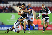 Matt Toomua of Leicester Tigers takes on the Castres defence. European Rugby Champions Cup match, between Leicester Tigers and Castres Olympique on October 21, 2017 at Welford Road in Leicester, England. Photo by: Patrick Khachfe / JMP