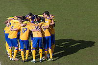 Mansfield Town pre match team huddle during the Sky Bet League 2 match between Wycombe Wanderers and Mansfield Town at Adams Park, High Wycombe, England on 25 March 2016. Photo by Andy Rowland.