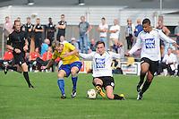 VOETBAL: DRACHTEN: 20-09-2014, Drachtster Boys - VV Staphorst, uitslag 2-1, Ferdi ter Avest (#11), Kevin Bakels (#7), Iloba Achuna (#24), ©foto Martin de Jong