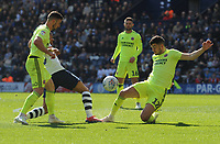 Preston North End's Lukas Nmecha is tackled by Sheffield United's John Egan<br /> <br /> Photographer Kevin Barnes/CameraSport<br /> <br /> The EFL Sky Bet Championship - Preston North End v Sheffield United - Saturday 6th April 2019 - Deepdale Stadium - Preston<br /> <br /> World Copyright © 2019 CameraSport. All rights reserved. 43 Linden Ave. Countesthorpe. Leicester. England. LE8 5PG - Tel: +44 (0) 116 277 4147 - admin@camerasport.com - www.camerasport.com