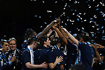 SAN ANTONIO, TX - APRIL 02:  The Villanova Wildcats  celebrate on stage after the 2018 NCAA Men's Final Four National Championship game against the Michigan Wolverines at the Alamodome on April 2, 2018 in San Antonio, Texas.  (Photo by Chris Steppig/NCAA Photos via Getty Images)