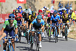 The leading riders including Green Jersey Alejandro Valverde (ESP) Movistar Team and Miguel Angel Lopez (COL) Astana Pro Team on the slopes of Sierra de la Alfaguara near the finish of Stage 4 of the La Vuelta 2018, running 162km from Velez-Malaga to Alfacar, Sierra de la Alfaguara, Andalucia, Spain. 28th August 2018.<br /> Picture: Eoin Clarke | Cyclefile<br /> <br /> <br /> All photos usage must carry mandatory copyright credit (&copy; Cyclefile | Eoin Clarke)