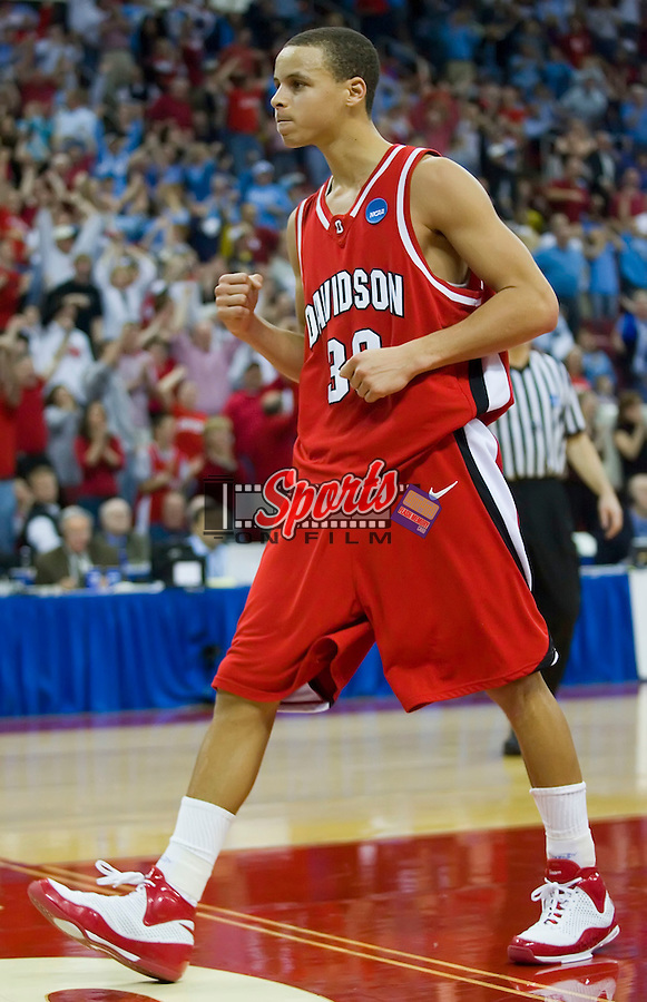 Stephen Curry (30) of the Davidson Wildcats reacts after being fouled versus the Georgetown Hoyas in second round action of the 2008 NCAA Men's Basketball Championship at the RBC Center in Raleigh, NC, Sunday, March 23, 2008.  Curry scored a game high 30 points in leading the #10 seed Wildcats to a 74-70 win over the #2 seed Hoyas.