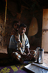 .Socotri and his daughter in his house nearby Dejub cave. Socotra Yemen