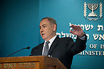 Israeli Prime minister Benjamin Netanyahu speaks during a press conference at the Prime Minister's Office in Jerusalem on March 14, 2017. US giant Intel announced it would buy Israeli car tech firm Mobileye for more than $15 billion (14 billion euros), the largest cross-border tech deal in the Jewish state's history.  Photo by: JINIPIX