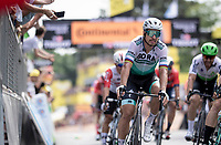 Mike Teunissen (NED/Jumbo-Visma) wins the bunch sprint into Brussels with the smallest of margins ahead of Peter Sagan (SVK/Bora-Hansgrohe)<br /> <br /> Stage 1: Brussels to Brussels(BEL/192km) 106th Tour de France 2019 (2.UWT)<br /> <br /> ©kramon