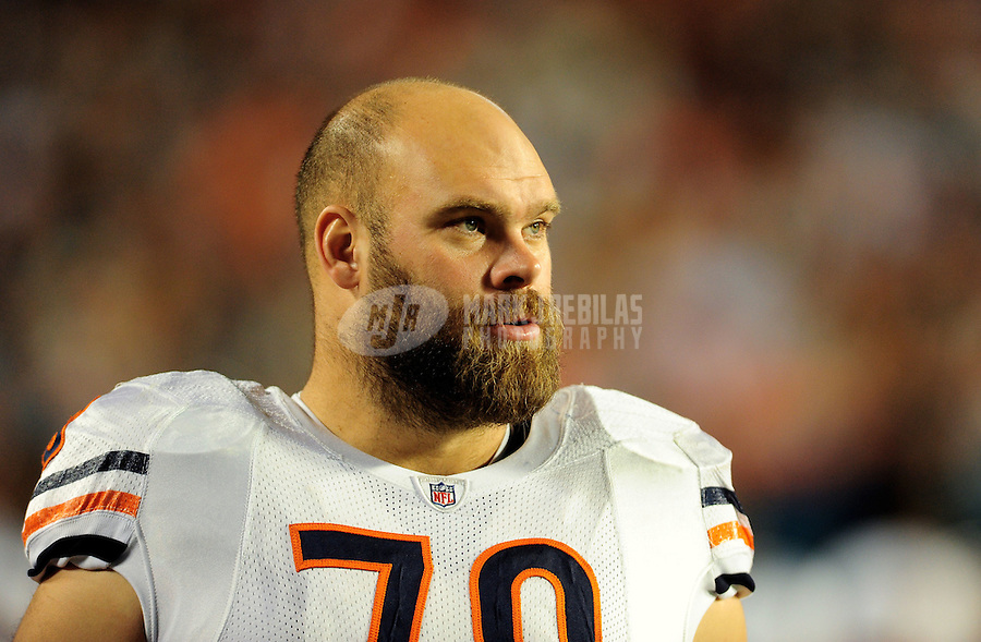 Nov. 18, 2010;  Miami, FL, USA; Chicago Bears offensive tackle Kevin Shaffer against the Miami Dolphins at Sun Life Stadium. The Bears defeated the Dolphins 16-0. Mandatory Credit: Mark J. Rebilas-