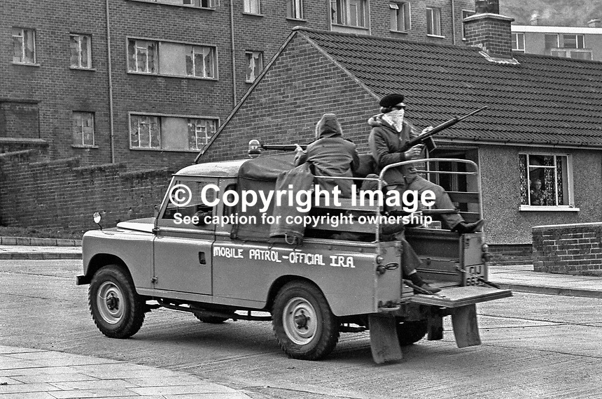 Official IRA mobile patrol in Turf Lodge housing estate, Belfast, N Ireland, UK. The patrol, a show of strength, was a reaction to the death of local IRA leader, Joe McCann, the previous day in the Markets Area in a confrontation with soldiers and police. 197204170173b..Copyright Image from Victor Patterson, 54 Dorchester Park, Belfast, UK, BT9 6RJ..Tel: +44 28 9066 1296.Mob: +44 7802 353836.Voicemail +44 20 8816 7153.Skype: victorpattersonbelfast.Email: victorpatterson@mac.com.Email: victorpatterson@ireland.com (back-up)..IMPORTANT: If you wish to use this image or any other of my images please go to www.victorpatterson.com and click on the Terms & Conditions. Then contact me by email or phone with the reference number(s) of the image(s) concerned.