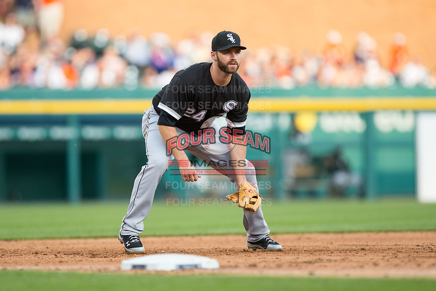 Chicago White Sox third baseman Matt Davidson (24) on defense against the Detroit Tigers at Comerica Park on June 2, 2017 in Detroit, Michigan.  The Tigers defeated the White Sox 15-5.  (Brian Westerholt/Four Seam Images)