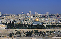 The city of Jerusalem, Israel, seen from the Mount of Olives, a hillside and cemetery where many Jews are buried. The gold dome in this photo is the Dome of the Rock, the most important mosque of the Islamic religion. Jerusalem, Israel.