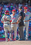 7 September 2014: Philadelphia Phillies pitching coach Bob McClure visits the mound during a game against the Washington Nationals at Nationals Park in Washington, DC. The Phillies fell to the Nationals 3-2 in their final meeting of the season. Mandatory Credit: Ed Wolfstein Photo *** RAW (NEF) Image File Available ***