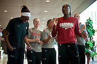 NORFOLK, VA--Nneka Ogwumike, Lindy La Rocque, Grace Mashore, Chiney Ogwumike and Sarah Boothe enjoy the band entertainment during a pregame sendoff at the Sheraton Hotel before taking on West Virginia at the Ted Constant Convocation Center at Old Dominion University for the second round of the 2012 NCAA Championships.