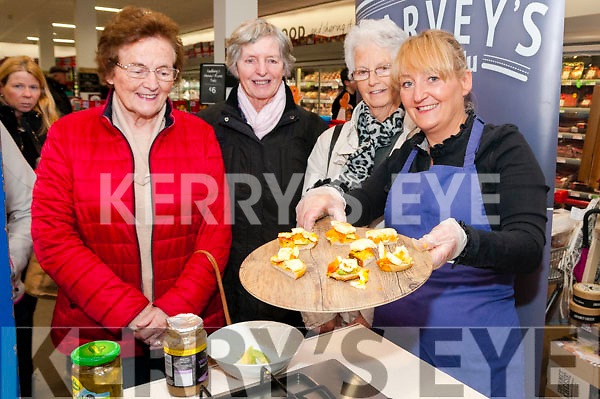 Listowel Food Fair: Lizzy Lyons, FloGlas Ambassador from Lizzy Little Kitchen, Listowel demonstaring how to make Humus at Garvey;s Super Value during Listowel Foof Fair on Saturday last pictured with Quennie Dillon, Bridie Keane & Kathleen Stack.