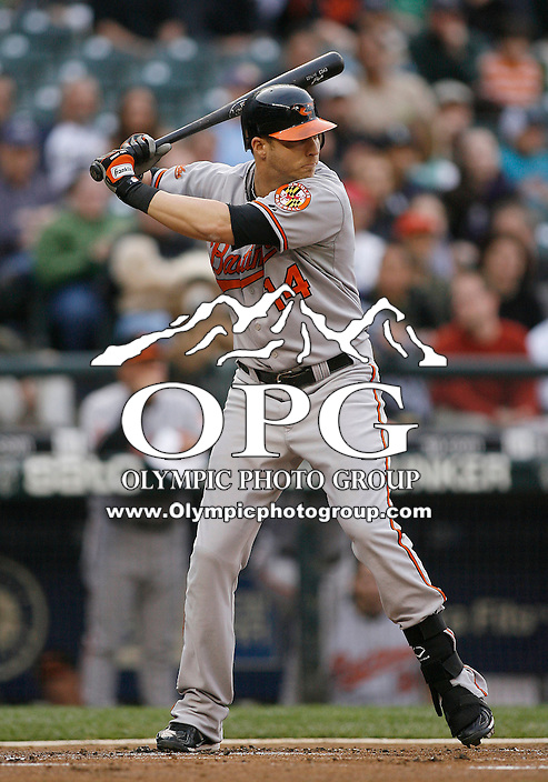 19 April 2010:  Baltimore Orioles designated hitter #14 Nolan Reimold sets up in the batters box against the Seattle Mariners.  Seattle won 8-2 over Baltimore at Safeco Field in Seattle, Washington.