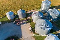 63801-12401 Unloading corn into grain bins in fall-aerial  Marion Co. IL