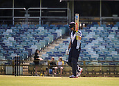 4th October 2017, WACA Ground, Perth, Australia; 2017 JLT One Day Cup, Tasmania versus Victoria; Victorian Bushrangers Cameron White celebrates as he reaches his 50