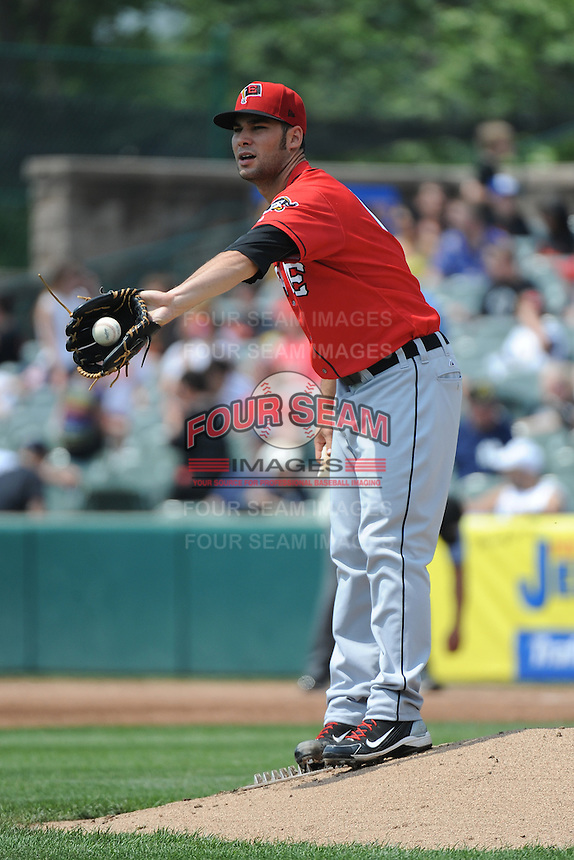 Erie SeaWolves pitcher Patrick Cooper (14) during game against the Trenton Thunder at ARM & HAMMER Park on May 29 2013 in Trenton, NJ.  Trenton defeated Erie 3-1.  Tomasso DeRosa/Four Seam Images