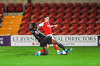 Fleetwood Town's forward Ashley Hunter (22) tackled by Liverpools defender Billy Koumetio (89) during the The Leasing.com Trophy match between Fleetwood Town and Liverpool U21 at Highbury Stadium, Fleetwood, England on 25 September 2019. Photo by Stephen Buckley / PRiME Media Images.
