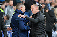 Swansea City manager Steve Cooper shakes hands with Cardiff City manager Neil Harris <br /> <br /> Photographer Ian Cook/CameraSport<br /> <br /> The EFL Sky Bet Championship - Cardiff City v Swansea City - Sunday 12th January 2020 - Cardiff City Stadium - Cardiff<br /> <br /> World Copyright © 2020 CameraSport. All rights reserved. 43 Linden Ave. Countesthorpe. Leicester. England. LE8 5PG - Tel: +44 (0) 116 277 4147 - admin@camerasport.com - www.camerasport.com